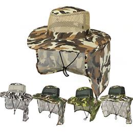 Toptan satış Açık Kamuflaj Kapaklar Spor Orman Askeri Kap Balıkçılık Güneş Ekran Gazlı Bez Şapka Kovboy Packable Ordu Kova Şapka TTA870