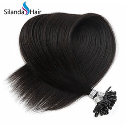 $enCountryForm.capitalKeyWord Australia - Silanda Hair Natural Black #1B Straight Remy Hair Pre Bonded U Tip Hot Fusion Human Hair Extensions 50 strands pack Free Shipping