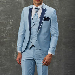 $enCountryForm.capitalKeyWord Australia - Sky Blue Double-breasted Vest Prom Suits 3 Pieces Groom Suits Tuxedos for Wedding Slim Fit Mens Wedding Suits Tuxedos Jacket+Pants+Vest