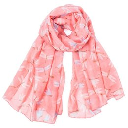 Dragonfly scarves online shopping - 2019 Women Cotton and linen dragonfly Scarf voile Scarf Women Summer Spring Wrap Scarves Printing Neck Scarf