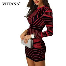 0a45d36e3 VITIANA Vestido de Fiesta Bodycon Corto para Mujer Mujer 2018 Invierno de Manga  Larga Rojo Estampado de Rayas Negro Elegante Lápiz Club Vestido Casual