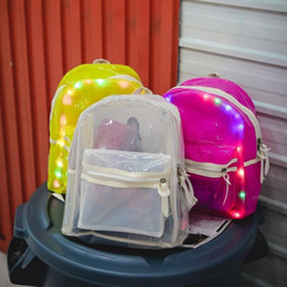 Square electronic online shopping - Women Jelly Glitter Jelly Backpack Lantern LED Light Decoration Shoulder Bag Student Transparent School Bag Backpack Electronic Bags MMA1316