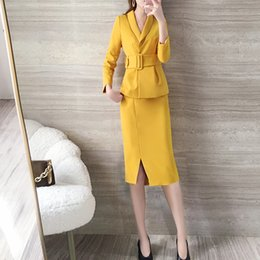 Ol Suits NZ - new fashion temperament OL Office Lady bag hip skirt two-piece skirt sets women's sets spring autumn professional suits