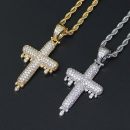 $enCountryForm.capitalKeyWord Australia - Luxury Gold & White Gold CZ Cubic Zirconia Blingbling Water Droping Cross Pendant Necklace Hip Hop Iced Out Diamond Jewelry for Men & Women