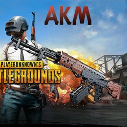 Toys Bricks Australia - Big PUBG AKM Gun Weapon Military With 2 Figures SWAT AK Signal Gun Model Building Blocks Brick With Soft Bullets Toys
