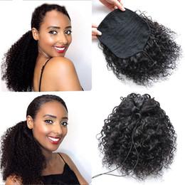 $enCountryForm.capitalKeyWord Australia - women's human ponytails virgin human hair curly deep wave hair extensions Bundle strap wig pony tail