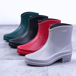 rubber boots Australia - Women RAINBOOTS fashion rain boots England style waterproof welly boots Rubber rainboots water shoes rainshoes 92930