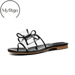 103702e67 Myfitgo Summer Clear PVC Women Slippers Bowknot Flat Slides on Sandals  Fashion Designer Transparent Female Beach Jelly Shoes New