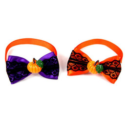 $enCountryForm.capitalKeyWord Australia - New Pet puppy Cat Dog halloween pumpkin lace bow tie accessories necklace collar bowknot necktie grooming for pet supplier decoration