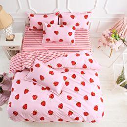$enCountryForm.capitalKeyWord Australia - Bedding Set luxury Pink Strawberry 4pcs Family Set Sheet Duvet Cover Pillowcase Boy Girl Room flat sheet, No filler 2019 bed