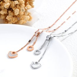 $enCountryForm.capitalKeyWord Australia - Stainless Steel Brushed Heart Necklace Women Roman Numerals Jewelry Chain Shell Pendant Rose Gold Necklace VICHOK