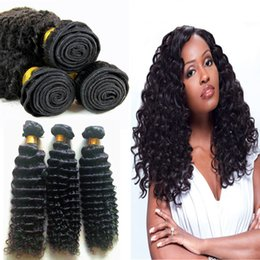 sew human hair NZ - TOP Grade 9a brazilian Deep Curly human hair sew in weave 100 human hair bundles weft 3 Pcs Unprocessed Mink Hair extension