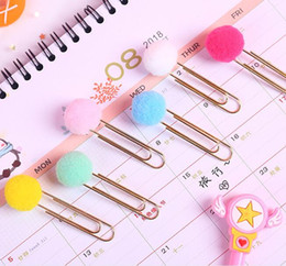 paper file clips Australia - cute creative plush ball paper clips candy color metal planner paper clips bookmarks filing supplies school office supply
