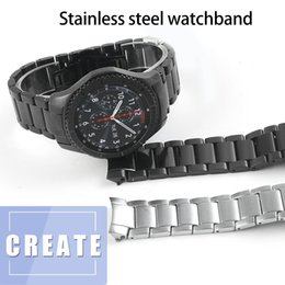 $enCountryForm.capitalKeyWord Australia - 22mm Watch Bands For Samsung Frontier Gear S3 S4 Stainless Steel Business Strap Curved End Watchband Replacement Watch R810 r800 T190620