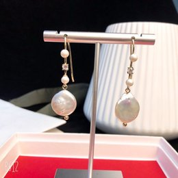 Vintage Copper Earrings Dangle Australia - Vintage Copper Round Chain Round White Pearl Charm Dangle Earrings For Women Jewelry
