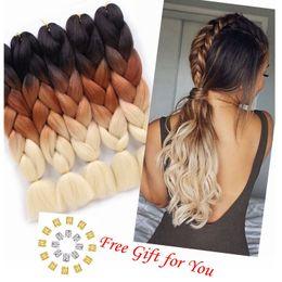 "$enCountryForm.capitalKeyWord Australia - 24"" 1pcs Pack 100g pc Afro Synthetic Jumbo Braids Ombre Kanekalon Fiber Hair Extension for Braiding Hairstyles (Black Brown 613)"
