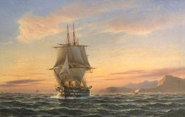 painting ocean boat Australia - Handpainted seascape Art oil Painting Wall Decor On Canvas Museum Quality ship big sail boat on ocean in sunset Mulit sizes Sc46
