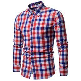 Linen Slim Shirts Australia - 2019 Mens Cotton Casual Plaid Shirts Pocket Long Sleeve Slim Fit Comfortable Brushed Shirt Leisure Styles Tops Shirt Blue