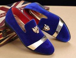 $enCountryForm.capitalKeyWord Australia - Wholesale Gold Top and Metal Toe Mens Velvet Dress shoes italian mens dress shoes Handmade Loafers Designer Shoe 12f X