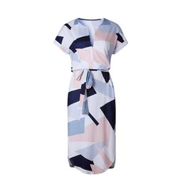 Hot Sexy White Dresses UK - 2019 New Hot-selling European-American Style Sexy V-neck Mid-waist Short Sleeve Fashion Block Printing Street Style Pencil Skirt Ladies