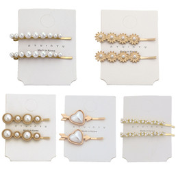 barrette cards NZ - 1 Card=1 Set Women Hairpins Hair Clips Pearl Bobby Pins Side Clips Barrettes Headwear Hairgrip Tools Fashion Accessories Headdress Jewelry