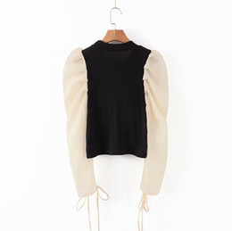 Wholesale women chic blouses for sale – plus size Vintage Stylish Organza Patchwork Tops Short Style Knitted Blouses Women Fashion O Neck Puff Sleeve Female Shirts Chic Tops