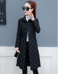 Wave Canvas Print Australia - Free shipping fashion light down cotton padded women's long section 2018 new wave winter ladies thin section slim coat winter