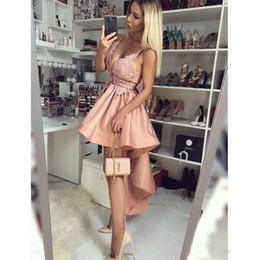 $enCountryForm.capitalKeyWord Australia - 2019 Cheap Arabic Short A Line Homecoming Dresses Spaghetti V Neck Lace Appliques Sleeveless Open Back High Low Cocktail Party Prom Gowns