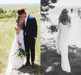 $enCountryForm.capitalKeyWord Australia - Sexy Summer Bohemian Beach Wedding Dresses A Line Plus Size New 2019 Spaghetti Straps Drop Sleeves Lace Chiffon Country Bridal Gowns Cheap