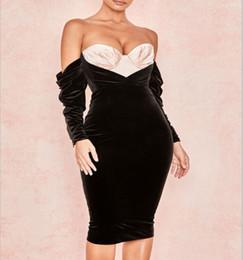 e5795808b74b Free Shipping 2019 Factory price elegant women bandage dress black velvet  strapless spring autumn dresses sexy evening club dress vestido