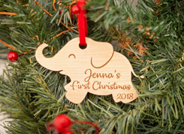Personalize Christmas Ornament Australia - Baby's First Christmas Ornament - Personalized Elephant Ornament - New Baby Gift 1st Christmas Baby Shower Gifts Engraved