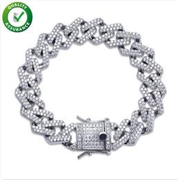 pandora gold 18k 2019 - Hip Hop Jewelry Mens Bracelets Gold Iced Out CZ Cluster Diamond Cuban Miami Link Bracelet Luxury Designer Bangle Rapper
