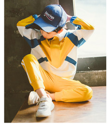 $enCountryForm.capitalKeyWord NZ - 2019 trend spring summer color matching boy suit sweater two-piece suit big boy long sleeve sports high quality baseball uniform l