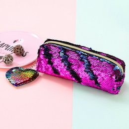 Cosmetic Bags Sequin Australia - 2019 New Style Patchwork Women Portable Sequins Cosmetic Bag Zipper Travel Make Up Cases Purse Student Pencil Case