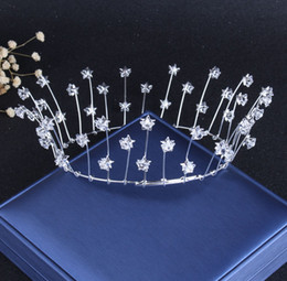 Wholesale Shinning Princess Silver Stars Crystals Bridal Tiaras Crowns Bridal Headpieces Bridal Accessories Wedding Tiaras Crowns T302514