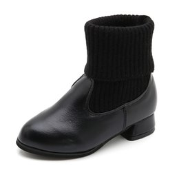 Boys shoes years old online shopping - 2019 New Kids Fashion Knitting Socks Boots Princess Warm Snow Boots Girl High Heel Children Shoes Year Old