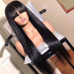 long human hair for 2020 - Fashion Human Hair Wig Full Bangs Silky Straight Brazilian Virgin Hair Lace Front Wig Full Lace Wig For Black Women With