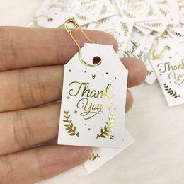 Wholesale 500 pcs Paper Gift Tags Card Gold Leaf Festival Wedding Decoration Thank You Mini Candy Box Label 2.5x4 cm