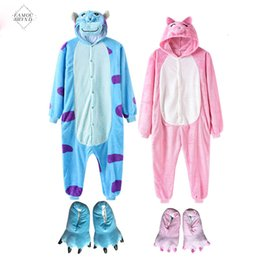 slippers bear NZ - 2019 Pajama New Animal Onesie With Slippers Women Men Kigurumi Overall Cartoon Anime Bear One Piece Funny Suit