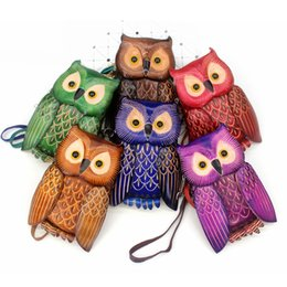 little girls purses wallets NZ - Vintage Cowhide Owl coin purses Womens Cute Genuine leather Zipper change purse little girls coin wallet wristlet kids purse bag