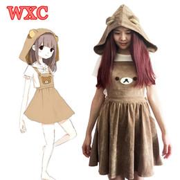 $enCountryForm.capitalKeyWord NZ - mbroidery handmade Harajuku Japanese Rilakkuma Dress Cute Bear Embroidery Overall Dresses With Detachable Hat Lolita Mori Girls Straps Dr...