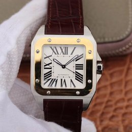 Wholesale Mens Watch Automatic Mechanical Movement Stainless Steel Case Square Curved Sapphire Glass Mirror White Lettering Italian Leather Strap