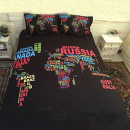 $enCountryForm.capitalKeyWord NZ - Bedspreads Black Map Bedding Set 3pcs with Pillow Cover Duvet Cover Comforter Bedding Sets Queen Size Bohemian Mandala Bedcloth