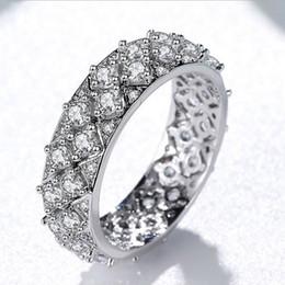 Platinum Plated Wedding Ring Sets Australia - NEW Fashion Full CZ Diamond Platinum plated Wedding RING Retail box Set Women Mens White gold Rings Gift Jewelry wholesale