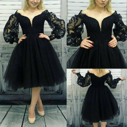 Gown eveninG dress scoop neck online shopping - 2020 Vintage Black Short Cocktail Prom Party Dresses With Long Sleeves Plus Size Teal Length Formal Homecoming Evening Gowns Wears
