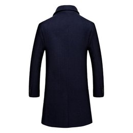 wool pea jacket Canada - New Fashion 2020 Men Pea Coat Long Slim Thick Wool Jackets Men Overcoat Abrigo Lana Hombre Outwear Plus Size M-4XL LX793