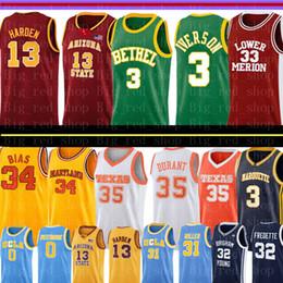 NCAA James 13 Harden Allen 3 Iverson Kobe 33 Bryant Jersey colegial Colégio Basquete Jerseys Len 34 Viés Bordado em Promoção