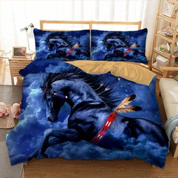 3d bedding set horses Australia - Blue Horse Queen Size Bedding Set Cool Fantasy 3D Duvet Cover King Printed Home Textile Double Single Bed Cover with Pillowcase