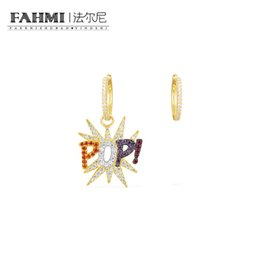 sapphire studs earrings UK - FAHMI 100% 925 Sterling Silver Letter POP Color Gold Earrings Exquisite Silver Earrings AE11576MY High Quality Women's Jewelry Free Shipping