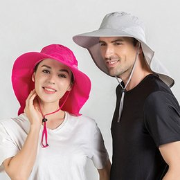 waterproof sun hats Australia - Summer Women's Sun Hat Waterproof Cloak Fishing Hat Men's Breathable Outdoor Sun Protection Cap Ladies Big Brim Windproof